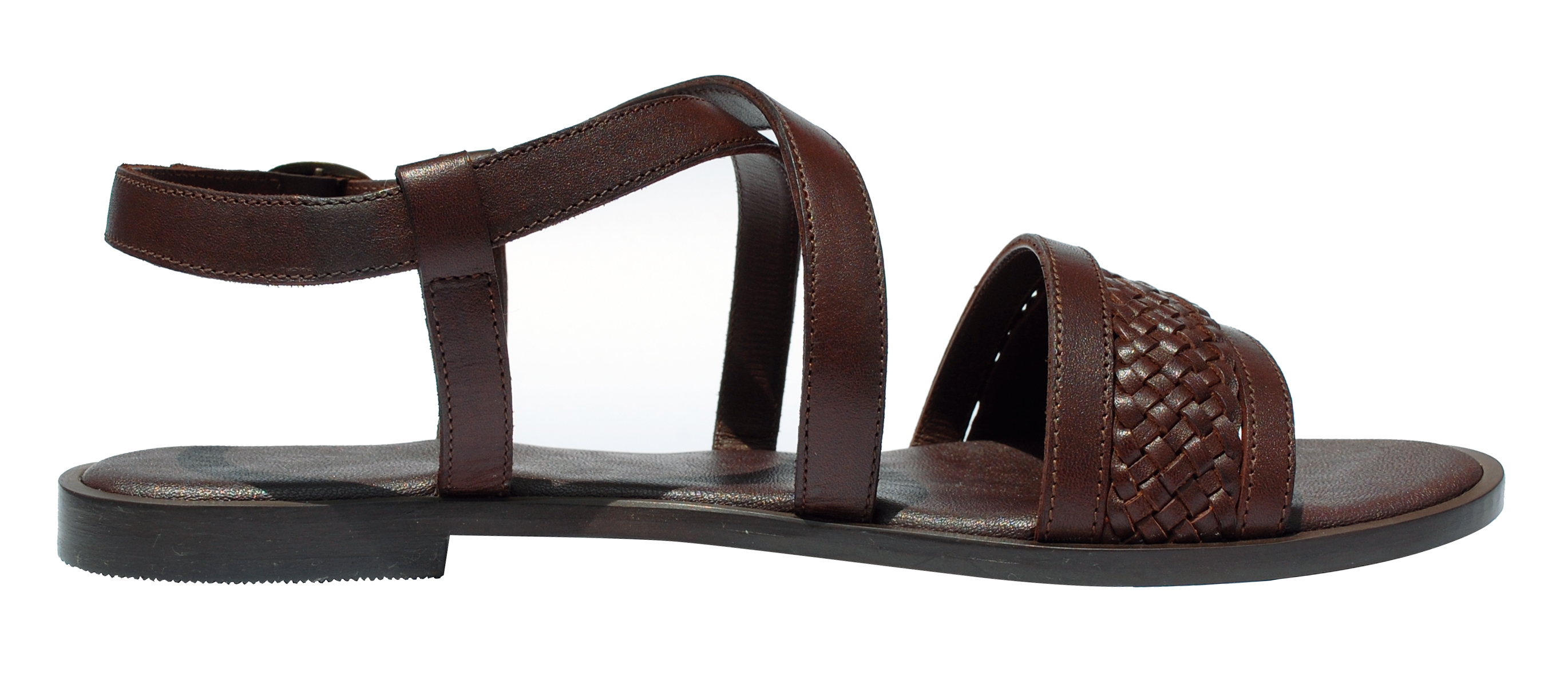 Weaved leather strappy sandal