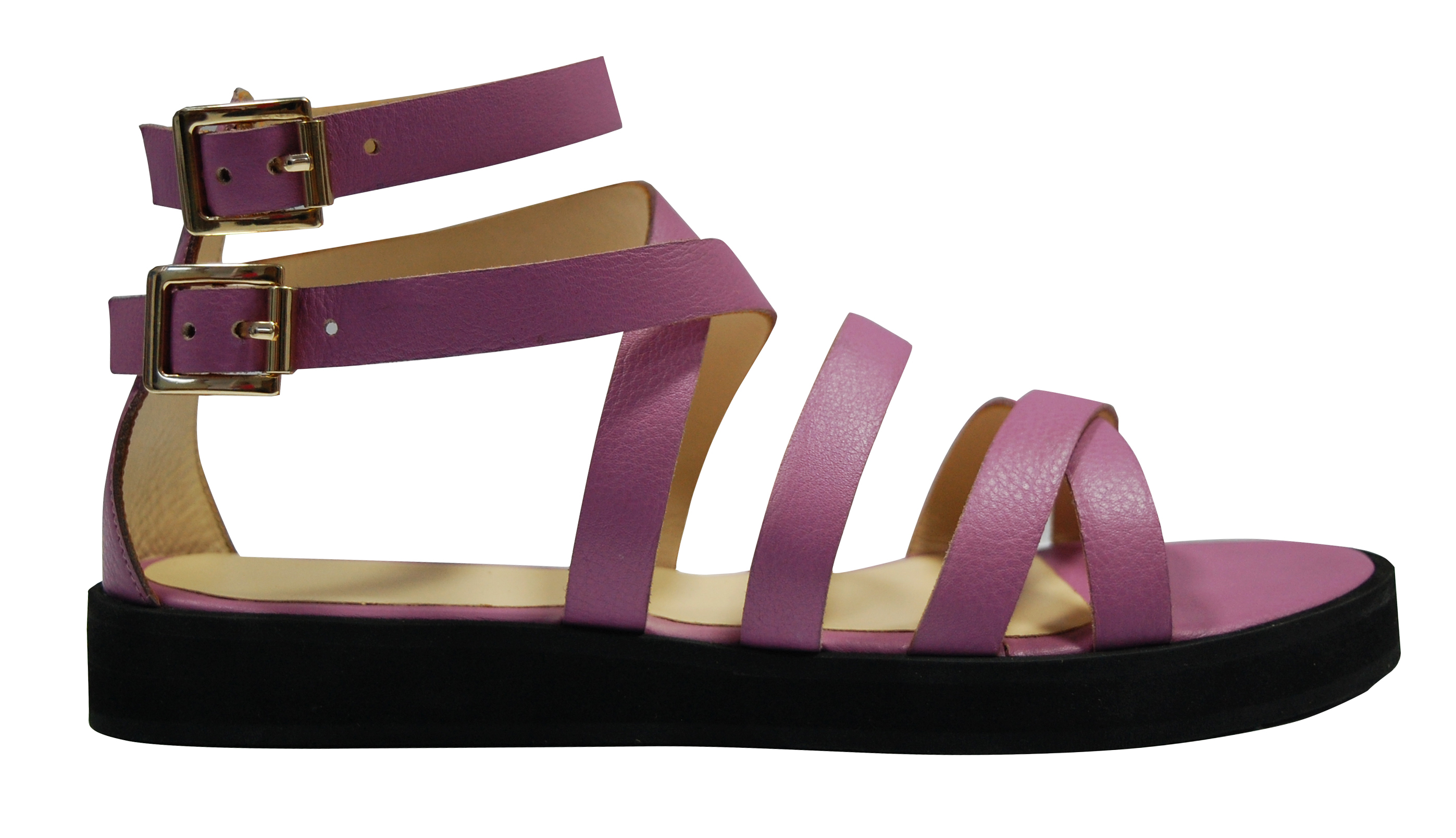 Criss-cross leather strappy sandal