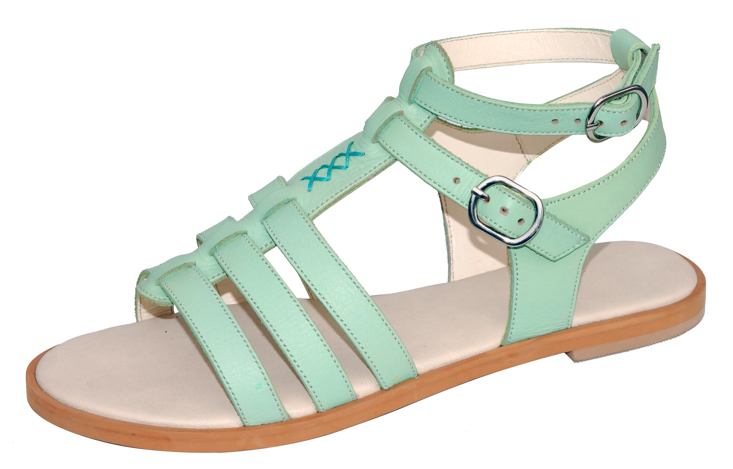Leather Strappy Flat Sandal