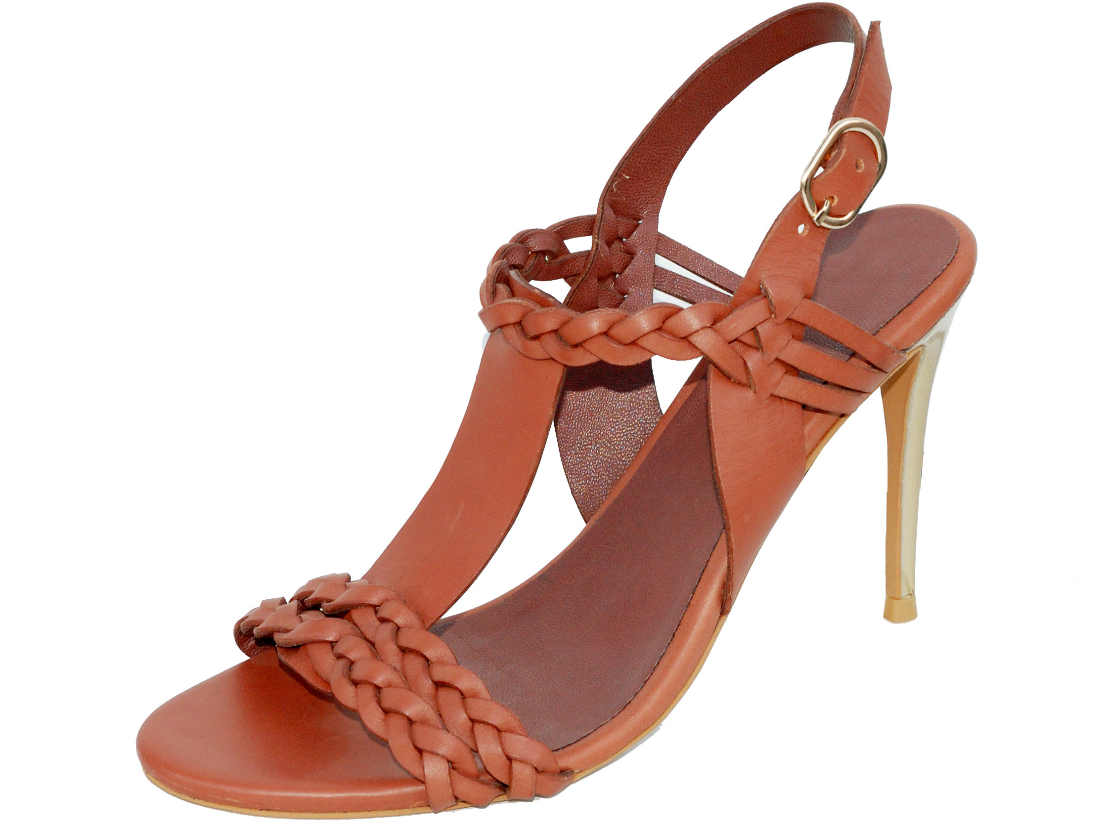 Tan color sandal with weaved detail