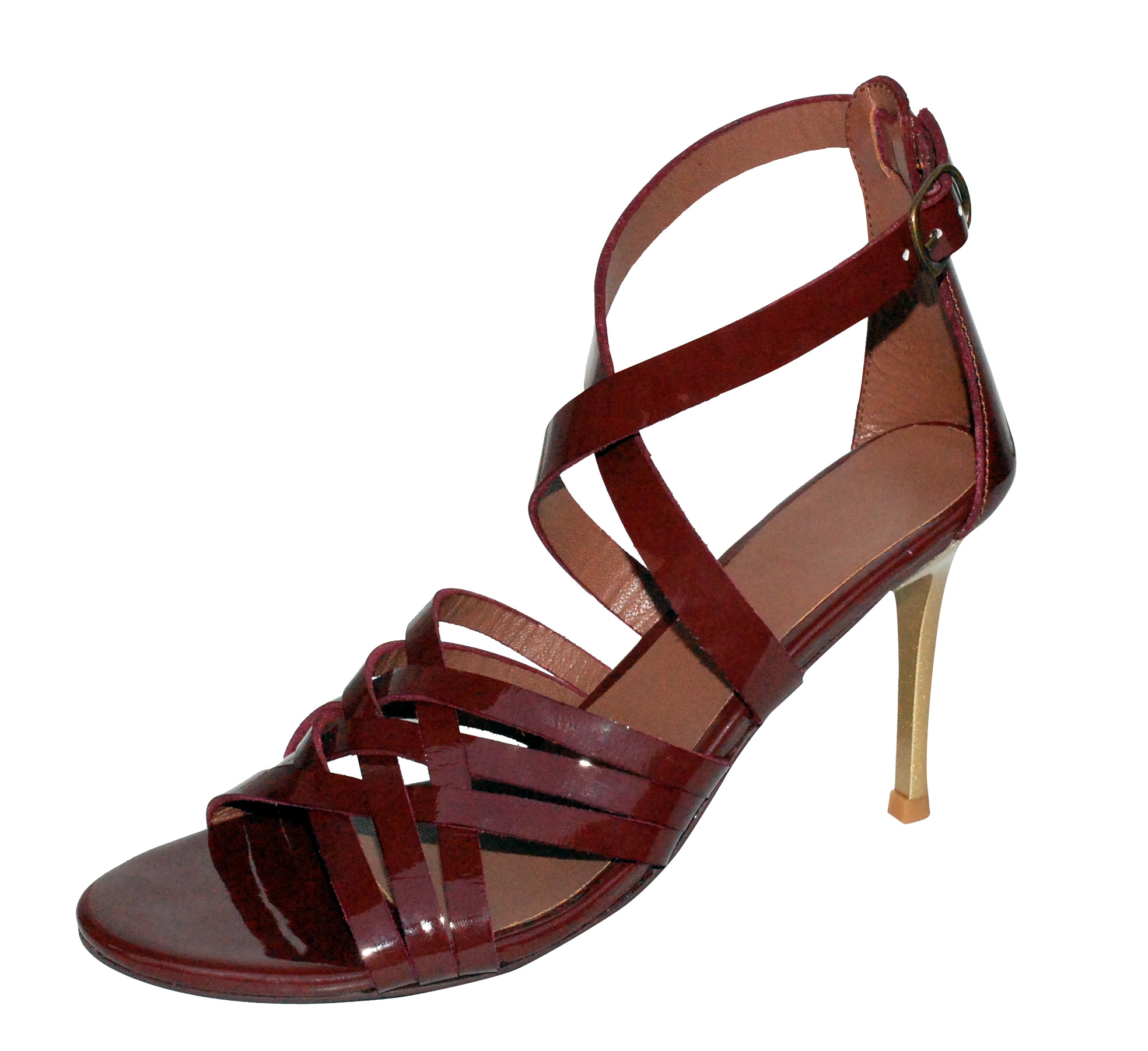 Crisscross weaved leather strappy stilletto