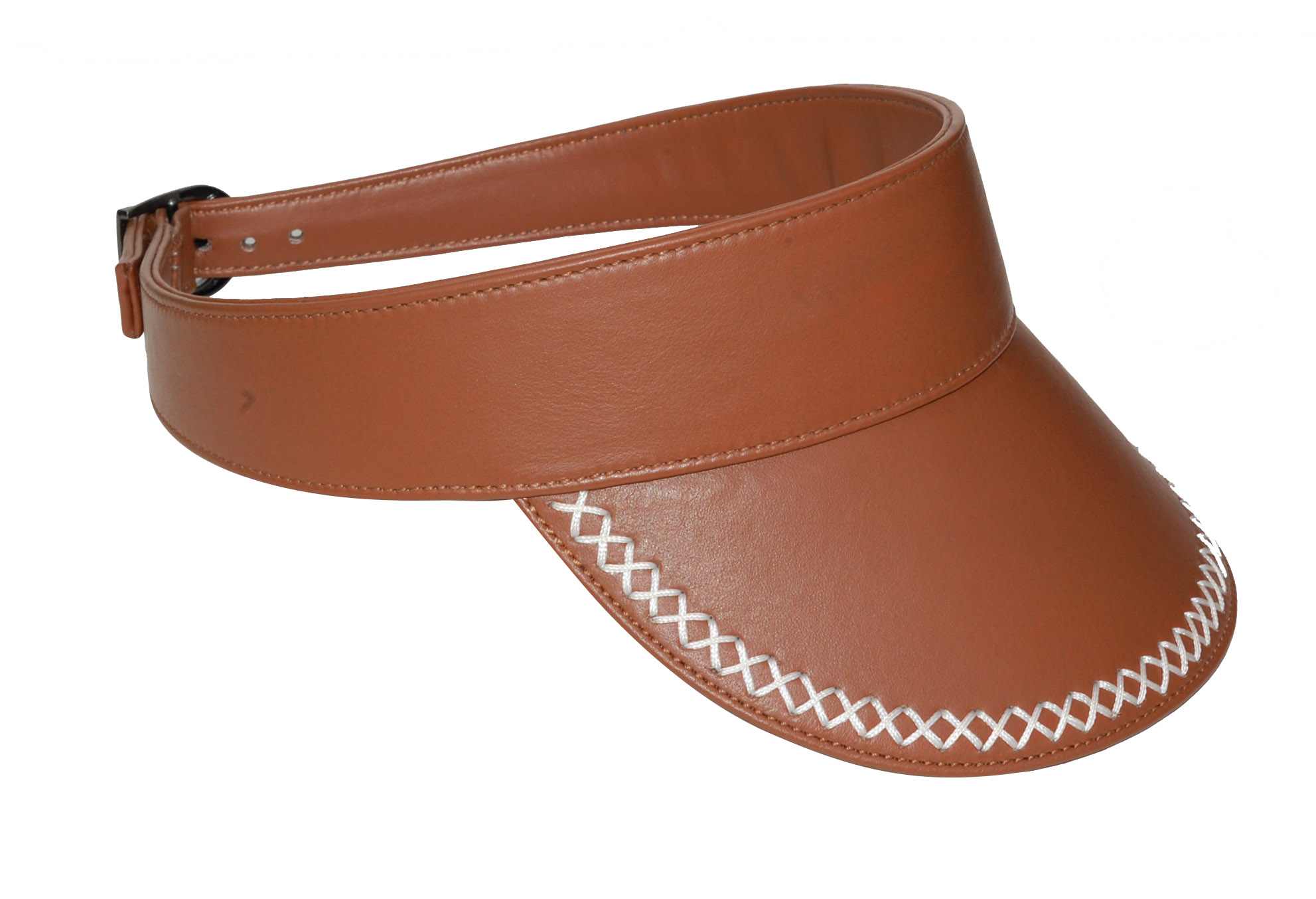 Women's Leather Sun Hat Visor with back side Adjustable Buckle