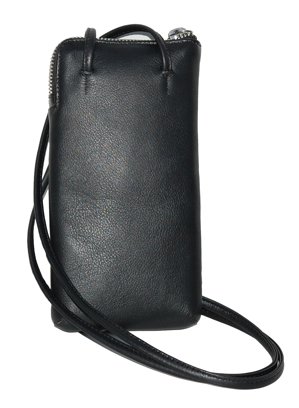 Women's leather cell phone pouch with shoulder strap