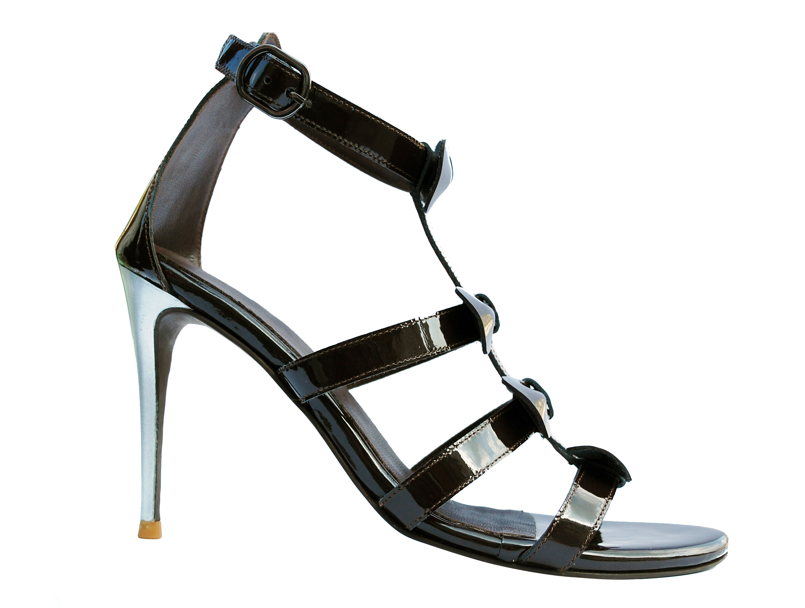 Front bow patent leather open toe stilletto