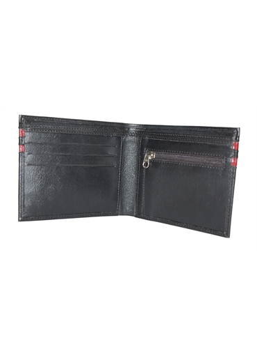 Black with Red Bar Lather Wallet