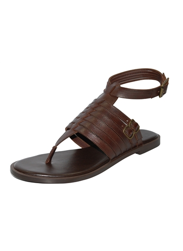 Brown FG Leather Toe Thong Sandal