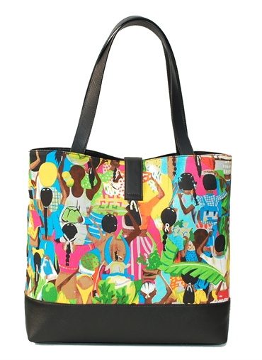 Leather with Canvas Shopper Bag